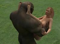 Огромная обезьяна трахает женщину